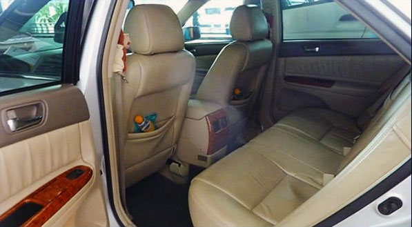 back seat of Toyota Camry limousine